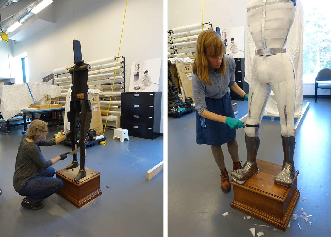 Left: Head of objects conservation Jane Williams carves down the wood support in areas that rub against the armor; right: Colleen O'Shea, Mellon Fellow in Objects Conservation, contours foam to fit and support the leg armor.