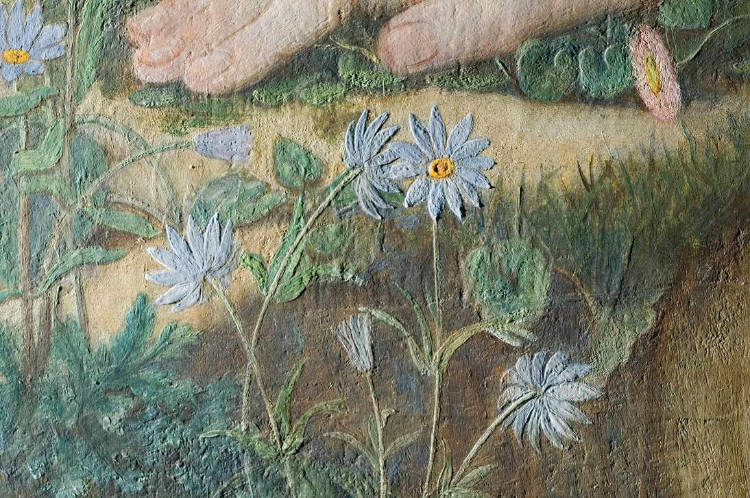 """Love and the Maiden"" detail in raking light showing texture created by the thick white underpaint."