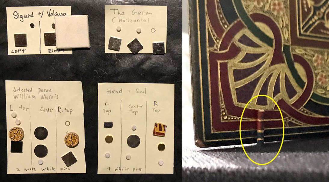 Rare earth magnets of various sizes are wrapped in paper to match the area of the book in which they will be placed (left). A single book can have many different magnets, based on its aesthetic needs and the magnets' holding power. Custom painted plastic covered pins inserted into the deck below the book help stand it upright and in place (right).