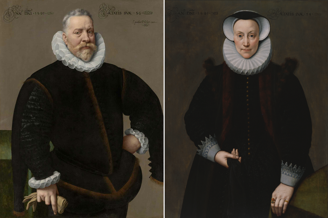 "L: Frans Pourbus the Younger, ""Portrait of a Man, Aged 56,"" 1591. Oil on panel. Private collection. R: Frans Pourbus the Younger, ""Portrait of a Woman, Aged 54,"" 1591. Oil on panel. Fine Arts Museums of San Francisco, Museum purchase, Roscoe and Margaret Oakes Income Fund, 1985.12"
