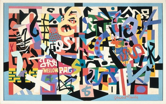 """Stuart Davis (1892–1964), """"The Mellow Pad,"""" 1945–51; oil on canvas; 26¼ x 42 1/8 in. (66.7 x 107 cm); Brooklyn Museum; bequest of Edith and Milton Lowenthal 1992.11.6. © Estate of Stuart Davis / Licensed by VAGA, New York."""