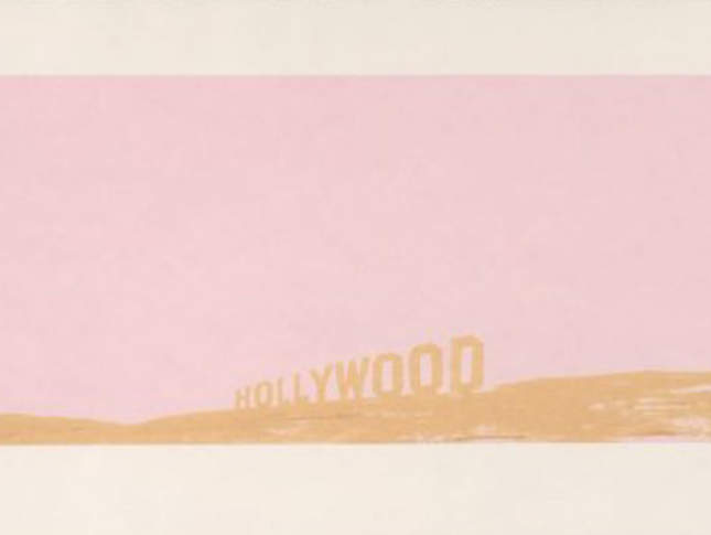"""Ed Ruscha, """"Pepto-Caviar Hollywood"""",1970. Color screenprint, 15 x 42 1/2 in. Published by Cirrus Editions, Los Angeles. Fine Arts Museums of San Francisco, Museum purchase, Mrs. Paul L. Wattis Fund, 2000.131.37.1 © Ed Ruscha"""