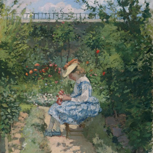 Jeanne Pissarro, Called Minette, Sitting in the Garden, Pontoise, ca. 1872