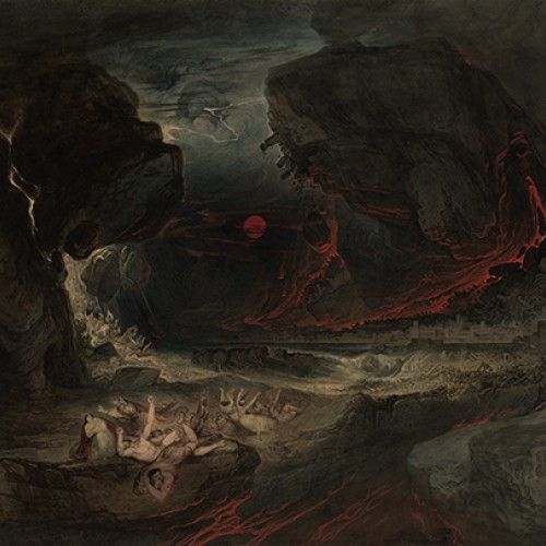 John Martin, The End of the World, ca. 1837–1838. Watercolor with scraping and incising with varnish on paper. Collection of Marie and George Hecksher
