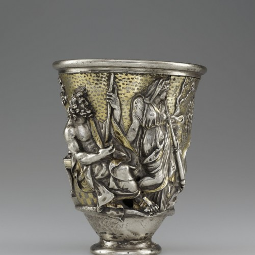 Beaker with imagery related to Isthmia and Corinth, Roman, 1st century AD. Silver and gold. Bibliothèque nationale de France, Département des monnaies, médailles et antiques, Paris