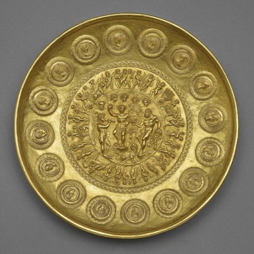 Offering bowl with Bacchus, Hercules, and coins, Roman, ca. AD 210. Gold. Bibliothèque nationale de France, Département des monnaies, médailles et antiques, Paris