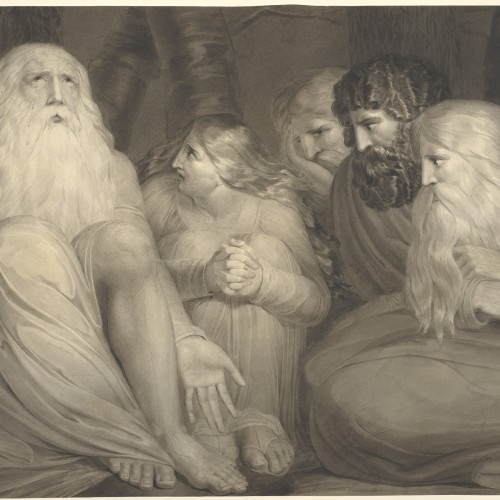 William Blake, The Complaint of Job, ca. 1793. Brush and black ink and gray wash on paper. Fine Arts Museums of San Francisco, memorial gift from Dr. T. Edward and Tullah Hanley, Bradford, Pennsylvania, 69.30.215