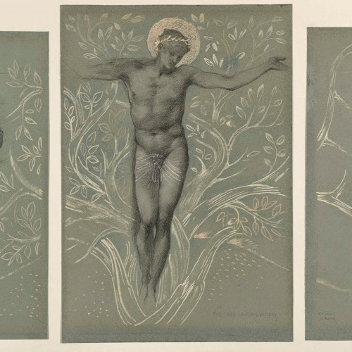 Edward Burne-Jones, The Tree of Forgiveness—A Mosaic in Rome (design for The Tree of Life mosaic in the American Church, Rome), 1891. Black, blue, gray, and white chalk and metallic paint on green paper. Fine Arts Museums of San Francisco, memorial gift of Dr. T. Edward and Tullah Hanley