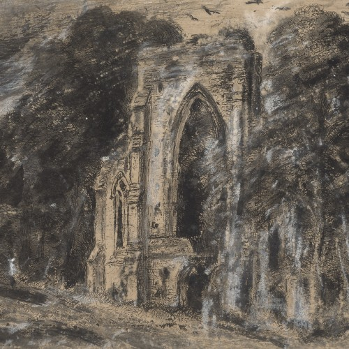 John Constable, Netley Abbey, ca. 1833. Etching with hand coloring in black and gray wash and white chalk with scraping on paper. Fine Arts Museums of San Francisco, gift of the Graphic Arts Council and Prints and Drawings Art Trust Fund