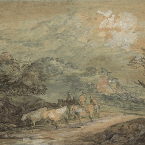 Thomas Gainsborough, Upland Landscape with Figures, Riders, and Cattle, ca. 1780–1790. Watercolor and lead white with varnish on paper. Fine Arts Museums of San Francisco, museum purchase, gift of Mr. and Mrs. Sidney M. Ehrman