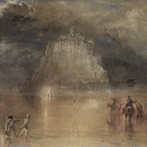 Joseph Mallord William Turner, Mont Saint-Michel, Normandy, ca. 1827. Watercolor with scraping on paper. Collection of Marie and George Hecksher