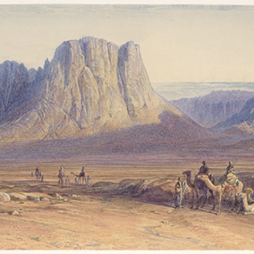 Edward Lear, Mount Sinai, 1869. Watercolor and opaque watercolor on paper. Collection of Marie and George Hecksher