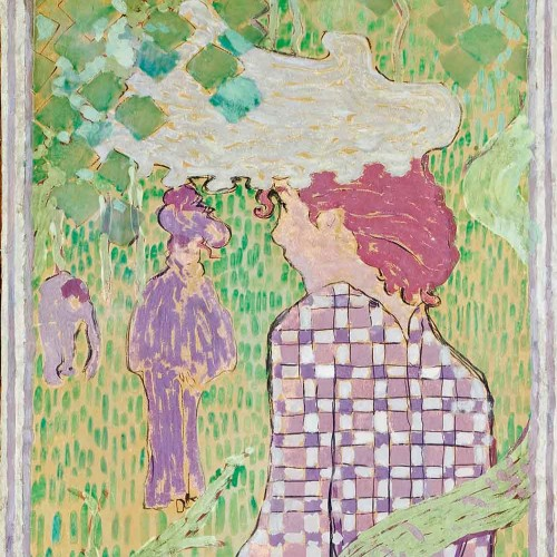 "Pierre Bonnard, ""Woman in Checkered Dress"", 1890–1891. Distemper on paper mounted on canvas. Musée d'Orsay, Paris; accepted by the State in place of payment of inheritance tax by Florence Gould, 1984, RF 159–162"