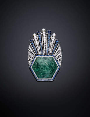 Aigrette Robert Linzeler, Paris, 1910. Designed by Paul Iribe. Emerald, India, ca. 1850–1900