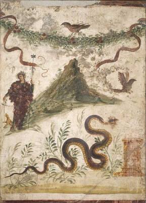 Fresco depicting the wine god Bacchus and Mount Vesuvius
