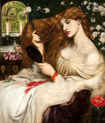 Dante Gabriel Rossetti British, 1828-1882 Lady Lilith, 1866-1868 (altered 1872-1873) Oil on canvas Painting 38 1/2 x 33 1/2 (97.8 x 85.1) Delaware Art Museum, Samuel and Mary R. Bancroft Memorial, 1935
