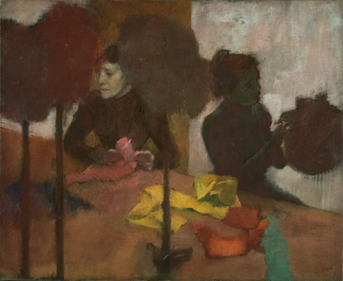 "Edgar Degas, ""The Milliners,"" 1880-1905. Oil on canvas, 59.1 × 72.4 cm (23 1/4 × 28 1/2 in.). The J. Paul Getty Musuem, 2005.14"