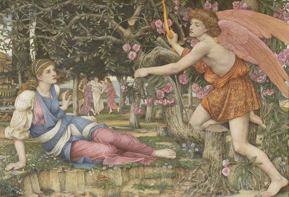 """John Roddam Spencer Stanhope, """"Love and the Maiden,"""" 1877. Oil, gold paint and gold leaf on canvas, 54 x 79 in. (137.2 x 200.7 cm). Fine Arts Museums of San Francisco, Museum purchase, European Art Trust Fund, Grover A. Magnin Bequest Fund and Dorothy Spreckels Munn Bequest Fund, 2002.176"""