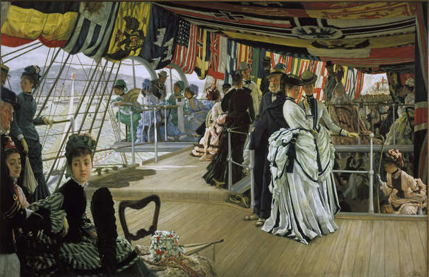 James Tissot, The Ball on Shipboard (detail) ca. 1874. Oil on canvas, 33 x 51 in. (83.8 x 129.5 cm). Tate Britain, London © Tate, London 2019