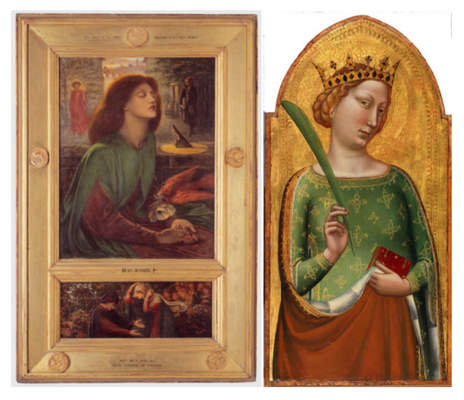 Dante Gabriel Rossetti, Beata Beatrix and Bernardo Daddi, A Crowned Virgin Martyr (St. Catherine of Alexandria)