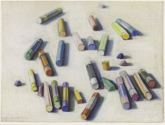 Pastels in various colors scattered across