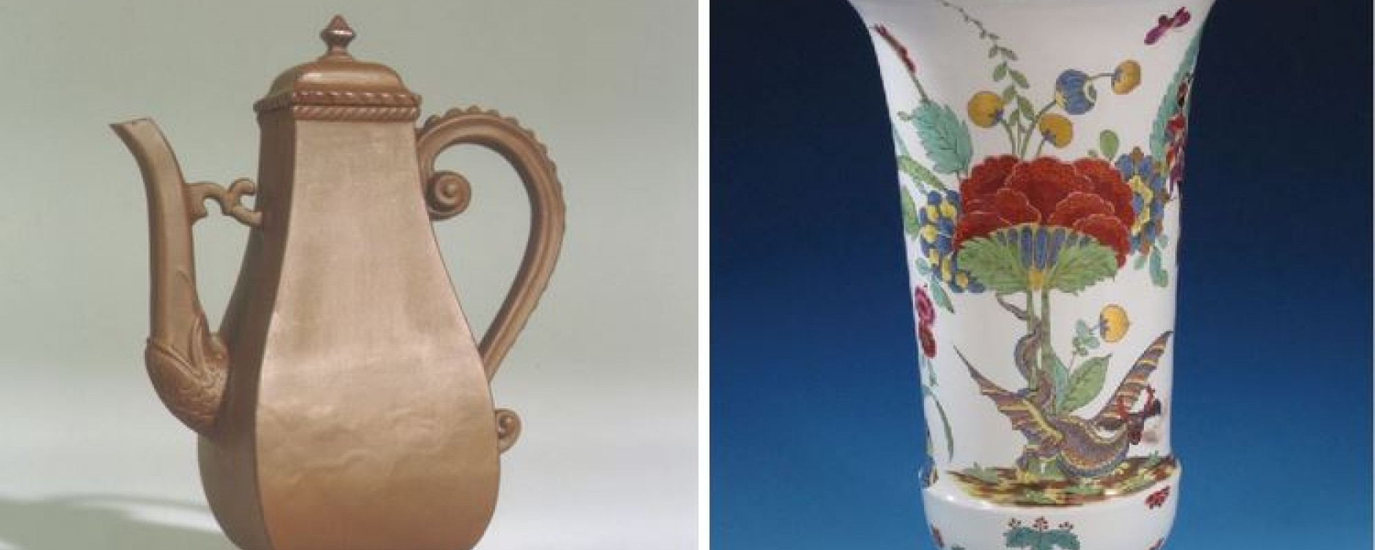stone coffeepot and porcelain vase with floral detail