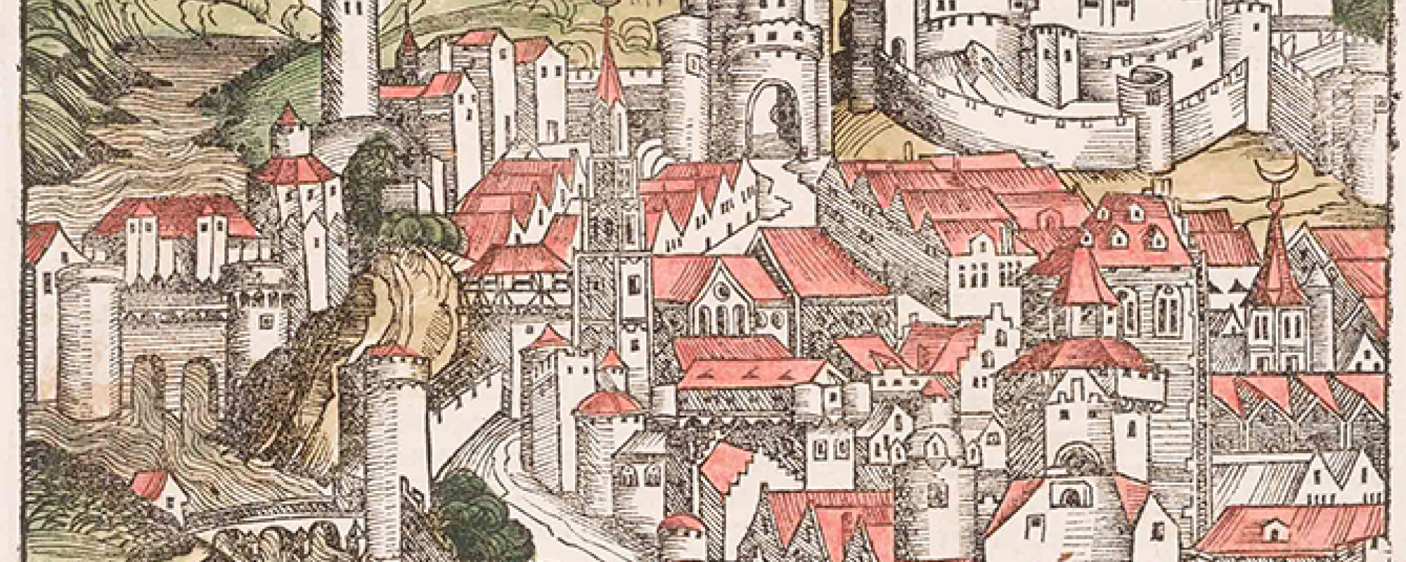 Michael Wolgemut (German, 1434–1519) or Wilhelm Pleydenwurff (German, ca. 1460–1494), The City of Ravenna (detail), from Die Schedelsche Weltchronik [The Nuremberg Chronicle] (Nuremberg: Anton Koberger, 1493), 1493. Hand-colored woodcut. Museum purchase, Achenbach Foundation for Graphic Arts Endowment Fund